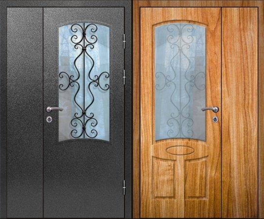 Полуторная металлическая дверь - 16-10