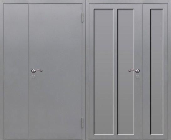 Полуторная металлическая дверь - 16-12