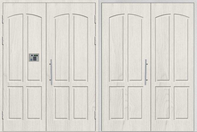 Двухлистовая металлическая дверь - 16-91