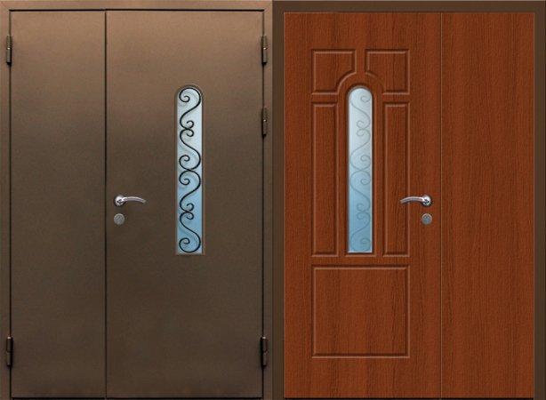 Двухлистовая металлическая дверь - 17-46