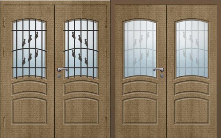 Двухлистовая металлическая дверь - 17-47