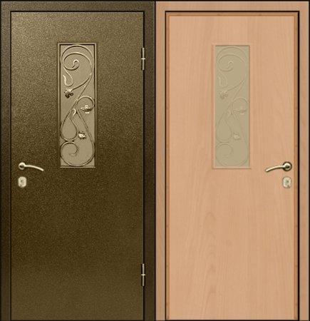 Двухлистовая металлическая дверь - 17-65