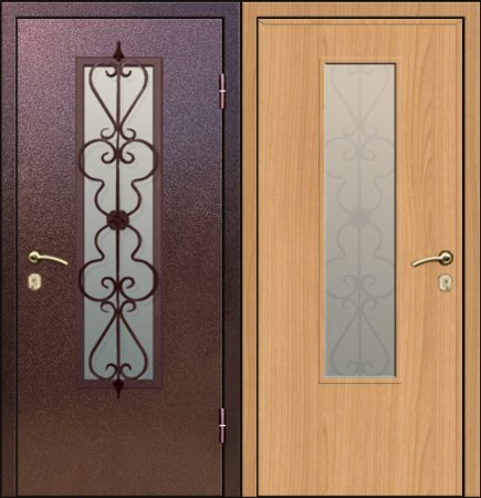 Двухлистовая металлическая дверь - 17-66