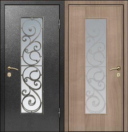 Двухлистовая металлическая дверь - 17-67