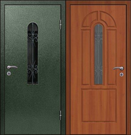 Двухлистовая металлическая дверь - 17-68