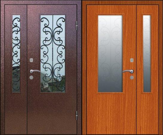 Двухлистовая металлическая дверь - 17-77