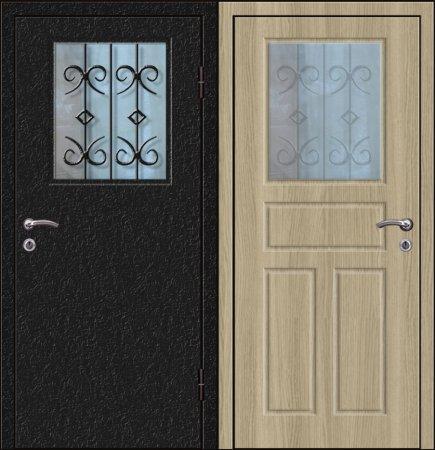 Двухлистовая металлическая дверь - 17-85