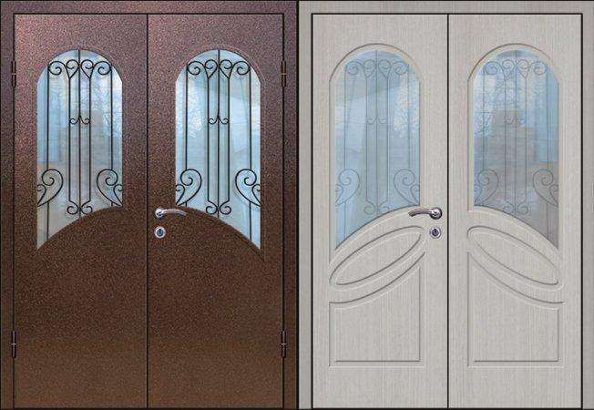 Двухлистовая металлическая дверь - 17-89