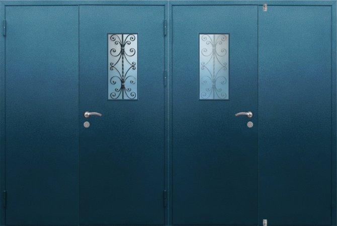 Двухлистовая металлическая дверь - 17-92